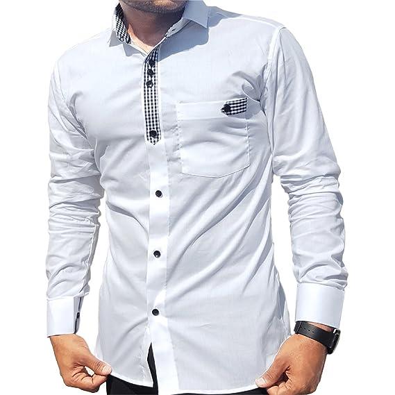 1248fe643 Generic Men Cotton Slim Fit Casual Shirt White_XL: Amazon.in ...