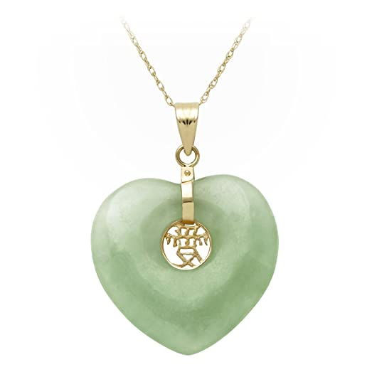 Amazon 14k yellow gold natural green jade heart with asian 14k yellow gold natural green jade heart with asian script quotlovequot pendant necklace mozeypictures Choice Image