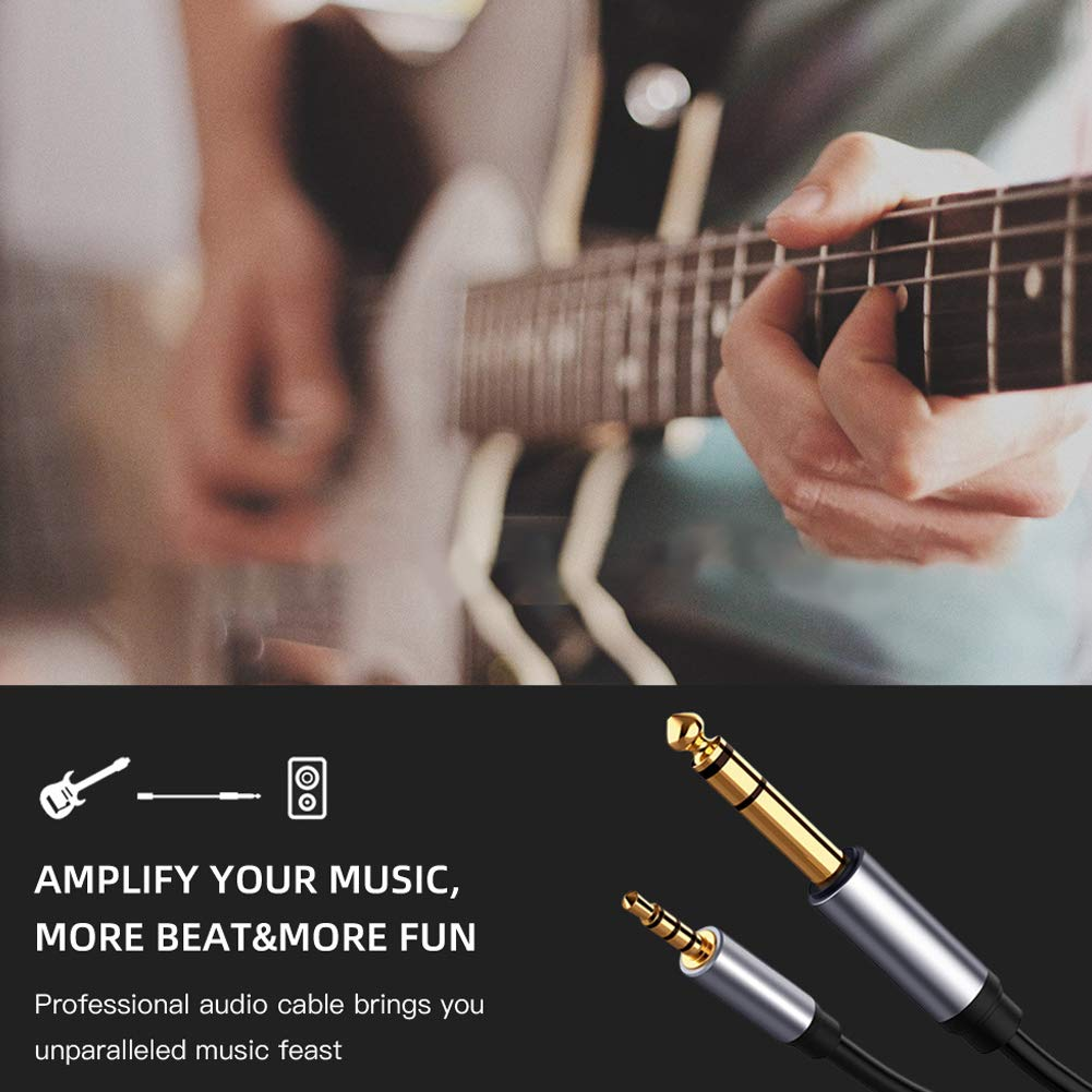 RONSHIN Automotive 3.5 to 6.5 Card Audio Line Male to Male Audio Cable Mobile Phone Computer High Security Audio Cable 1.8 Meters