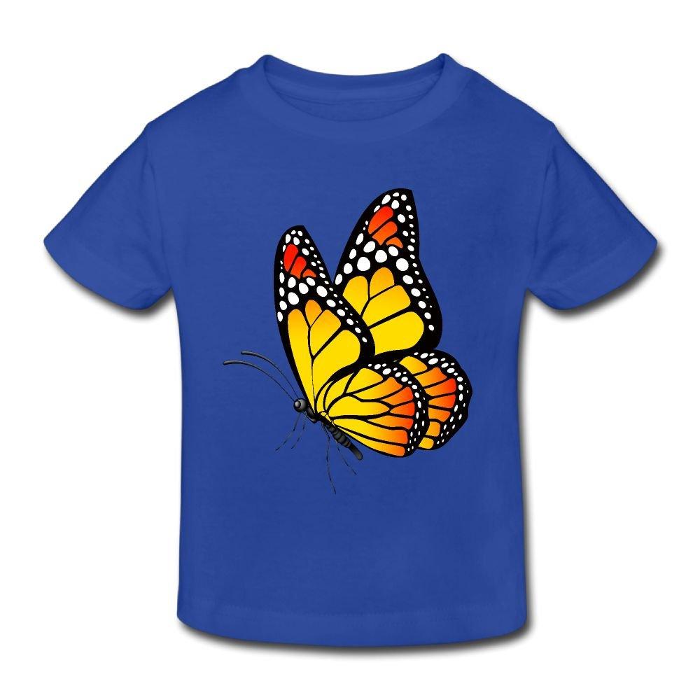 Girls Boy 2-6 Years Wiongh Opp Short-Sleeve T Shirts Yellow Cartoon Butterfly