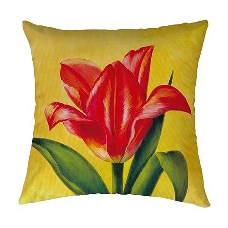 Pillow Covers Red Tulip Manta Funda de Almohada Decorativa ...