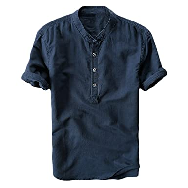 4098f964f520 Amazon.com: Runcati Mens Linen Henley Shirts Beach Short Sleeve Cotton Tops  Lightweight Tees Plain Summer T Shirt: Clothing