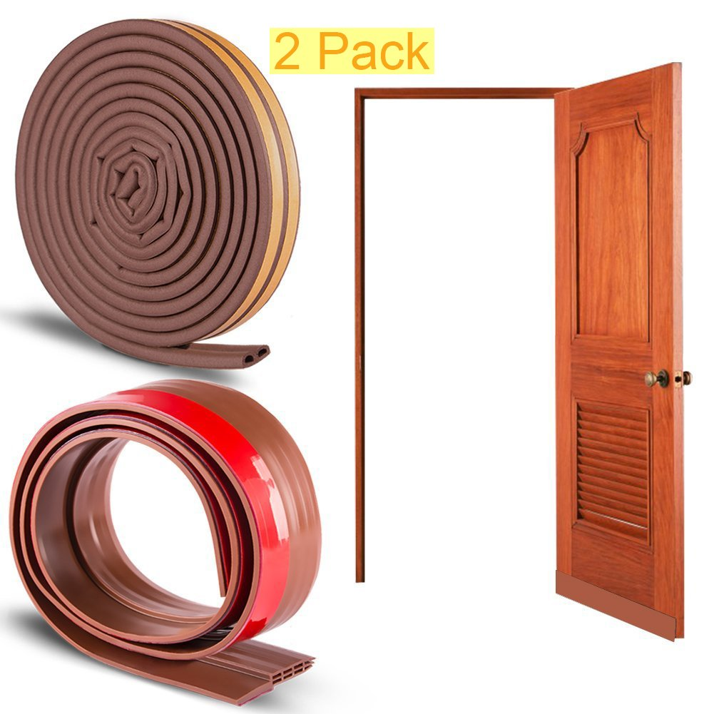Bro Adhesive Door Window Soundproofing Draught Excluders Sealing Kit Combo Set, 1 X Bottom Draft Sweep + 2 x D Type Weatherstrip Tape (Brown)