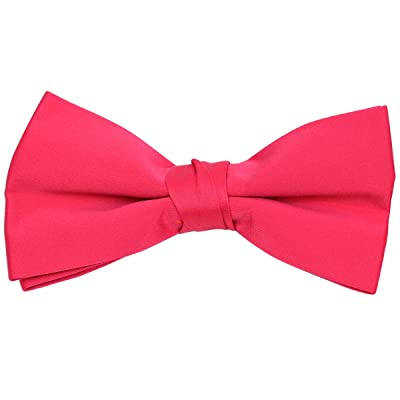 Boy's Poly Satin Banded Clip On Bow Ties (Fuchsia)