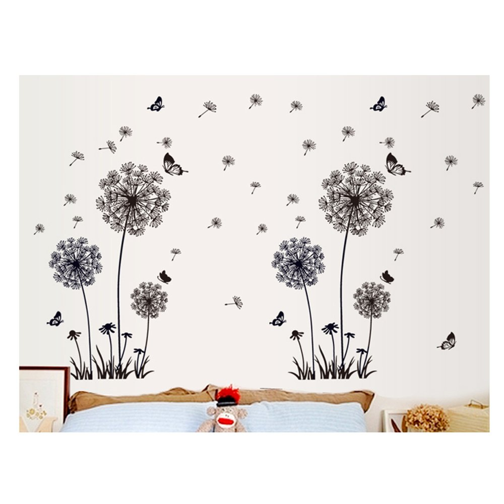 Excellent Adhesive Rooms Walls Vinyl DIY Stickers / Murals / Decals / Tattoos With 3 Black Dandelions And Butterflies Designs By VAGA
