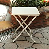 PHI VILLA Folding Metal Side Table Portable Outdoor Patio Small Folding Bistro Table, White