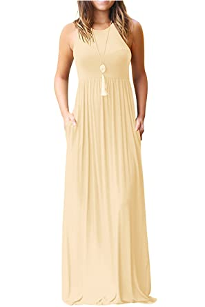 1b13f70ed5 Hervive Women's Short Sleeves/Sleeveless Racerback Loose Plain Long Maxi  Dresses with Pockets at Amazon Women's Clothing store: