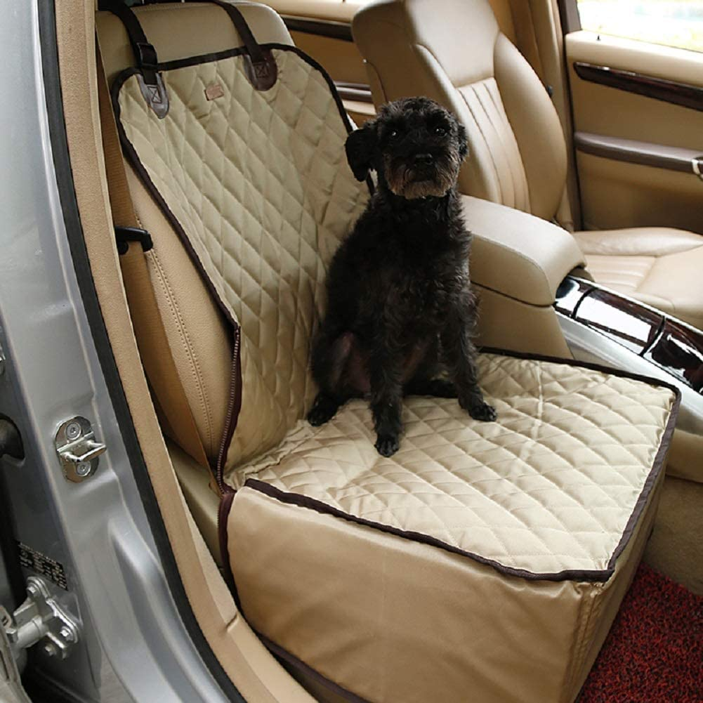 Dog Car Seat Covers, Deluxe Waterproof Pet Front Seat Cover Booster Seat Cover Vehicle Dog Bucket Seat Cover Car Seat Protector Auto Seat Cover for Small Large Dogs
