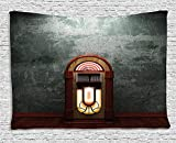 Jukebox Tapestry, Scary Movie Theme Old Abandoned Home with Antique Old Music Box Image, Wall Hanging for Bedroom Living Room Dorm, 60 W X 40 L Inches, Petrol Green and Brown