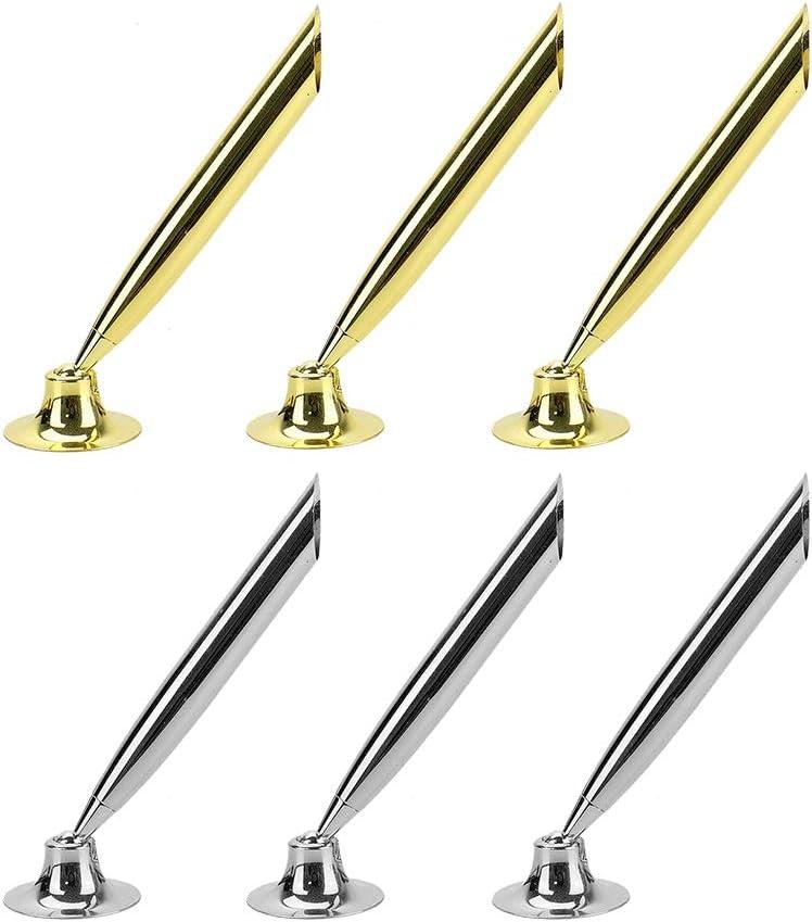 RMISODO 6 Pieces Desk Pen Funnel Base Metal Desktop Pen Pencil Holder Stand Set for Home Office Hotel