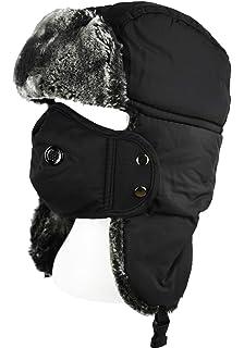 b0837d13 QHIU Winter Windproof Hat Russian Trapper Ushanka Plush Warm Balaclava with  Ear Flaps…