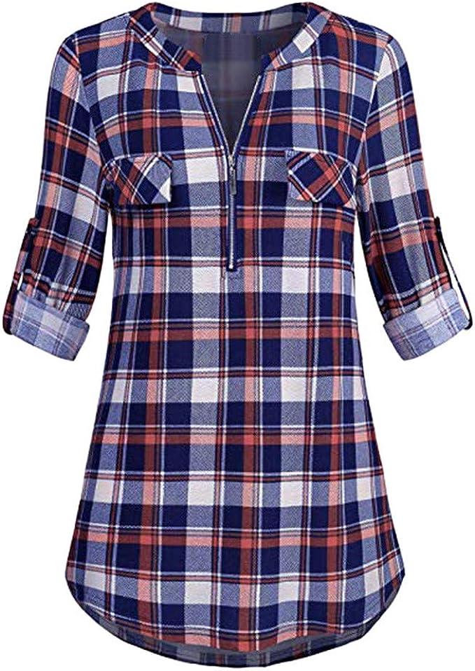 sale women tops 3//4 sleeve plaid shirt