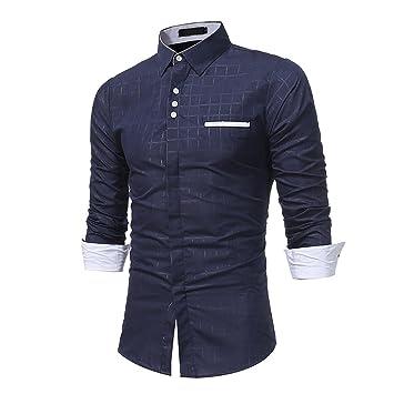 Camisa casual Otoño de hombre,Sonnena ❤ Camisa formal casual de los hombres de otoño con cuadros Camisa de manga larga Slim Fit Blusa superior: ...