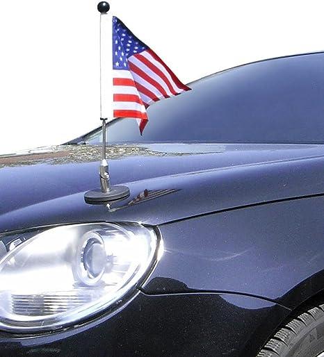 Magnetic Car Flag Pole Diplomat-1.30-Chrome