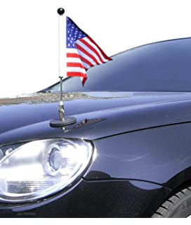 Usa Car Flag With Magnetic Base And Flexible Flag Pole