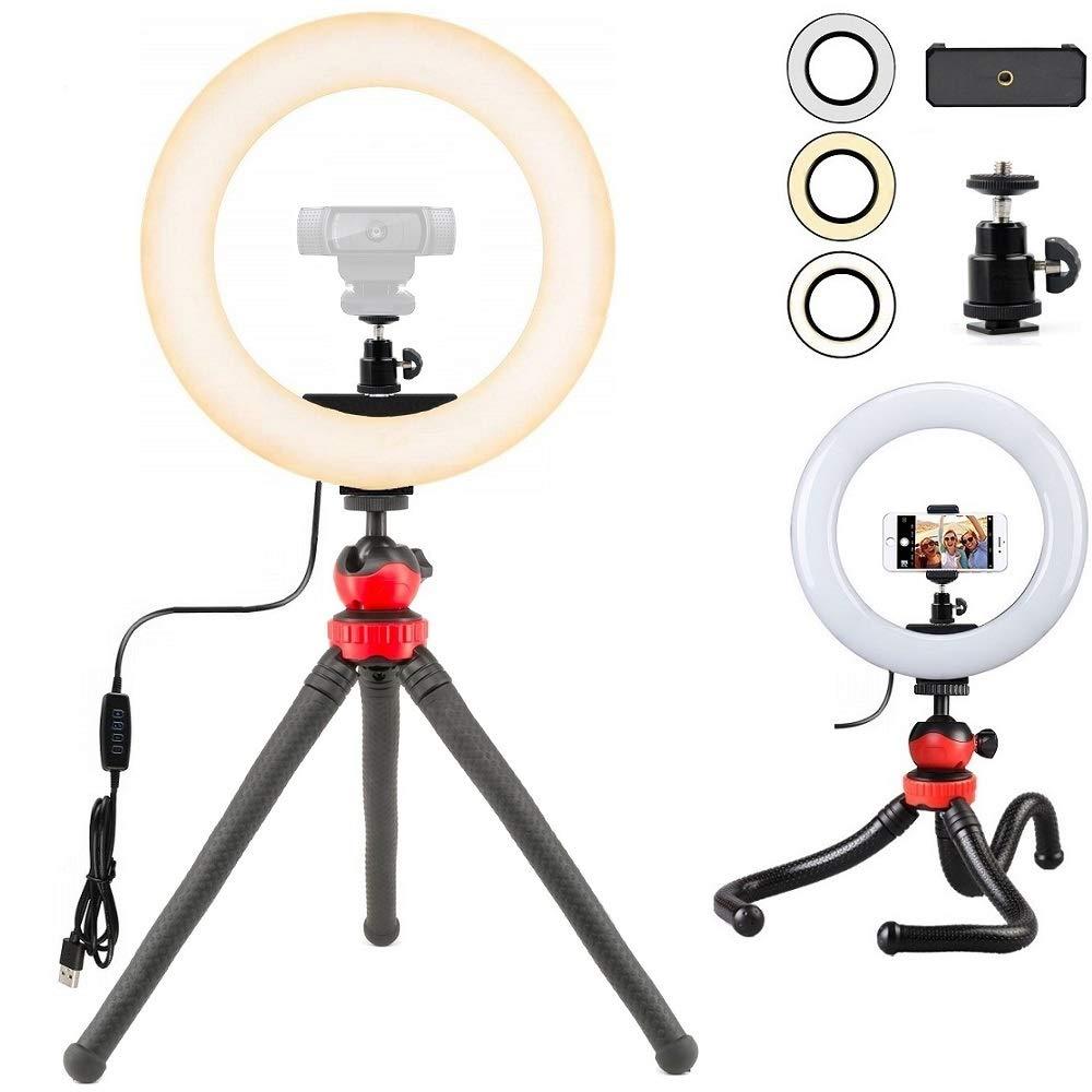 Webcam Light, Webcam Tripod Ring Light Stand for Logitech Webcam C920,C922x,C930e,Brio 4K,C925e,C922,C930,C615-12'' Light 12'' Tripod by AceTaken