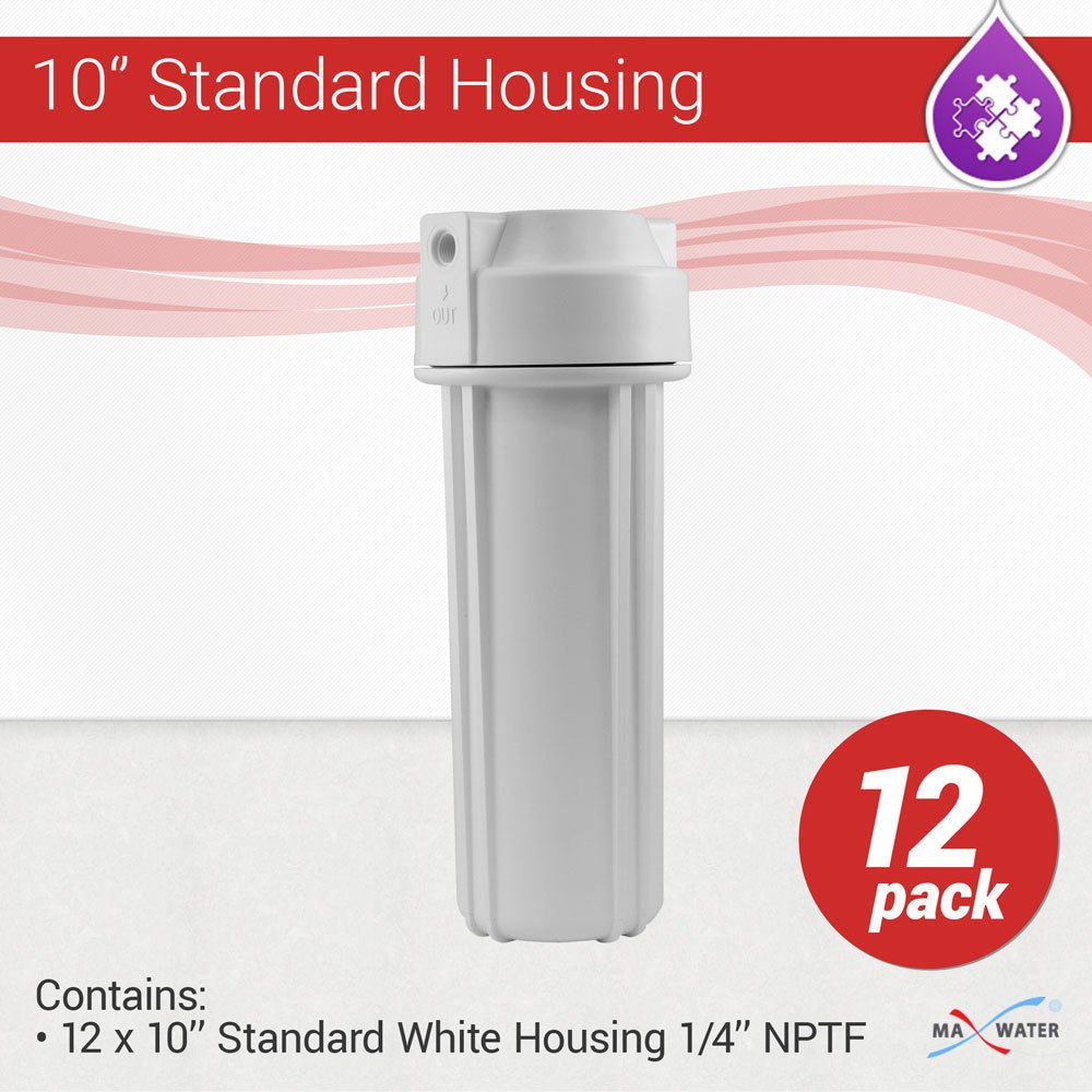 12 x 10'' Water Ffilter White Housing, 1/4'' NPT with Double O-Ring