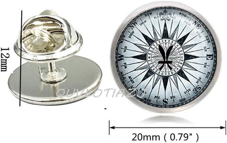 QUVLOTIAZJ Fische Kompass Brosche Pin, Fische Sternzeichen