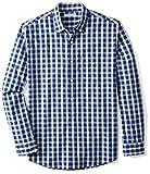 Amazon Essentials Men's Long-Sleeve Plaid Shirt,  Blue Plaid, Large
