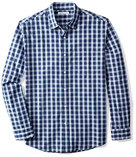 Amazon Essentials Men's Regular-Fit Long-Sleeve Casual Poplin Shirt, Blue Plaid, Large (Long Plaid Casual Sleeve)
