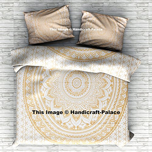HANDICRAFT-PALACE Gold Ombre Mandala Duvet Cover, Boho Queen Duvet Cover, Bohemian Bedspread Ethnic Cotton Handmade with Pillow ()