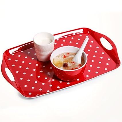 Kaxima Melamine polka dots red tray rectangular plastic tea tray fruit tray living room  sc 1 st  Amazon.com & Amazon.com: Kaxima Melamine polka dots red tray rectangular plastic ...