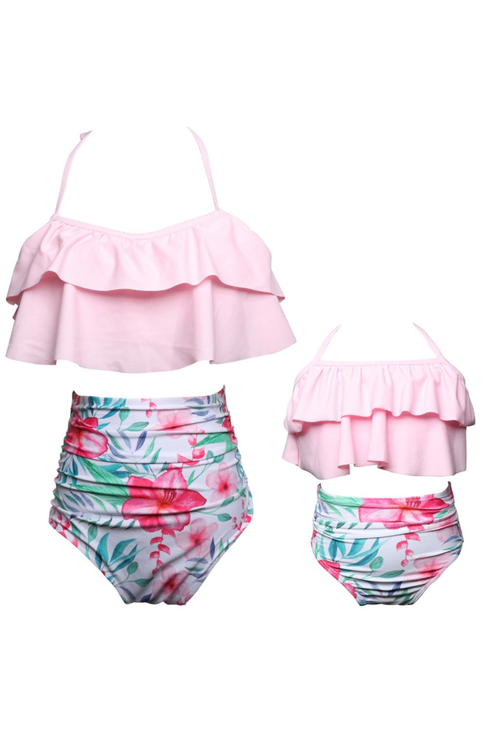 WIWIQS Summer Two-Piece Girls Bathing Suit Kid Girls Floral Pattern Halter Bikini Set (Pink,L)