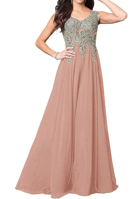 bluesh GMAR Beaded Appliques Prom Dresses A Line V Neck Open Back Long Formal Gowns