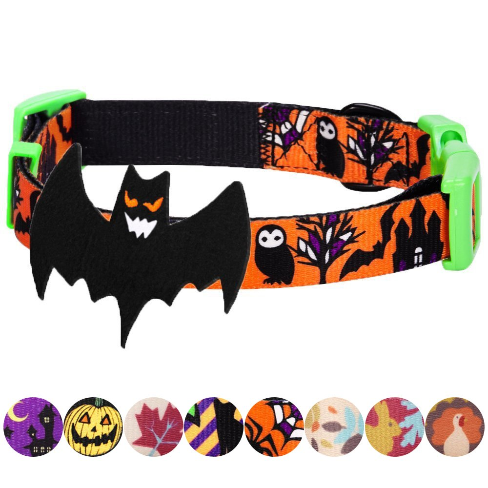 Blueberry Pet 8 Patterns Halloween Mystery Disguise Classic Designer Dog Collar with Decoration, Small, Neck 12''-16'', Adjustable Collars for Dogs