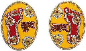 "Aditri Creation Large Laxmi Charan Paduka Feet Pagla Sticker Floor Rangoli Decoration for Door Wall Floor House Office (Length :- 3"" Each) Gift Gifts Return/Good Luck, (1 Pair Charan)"
