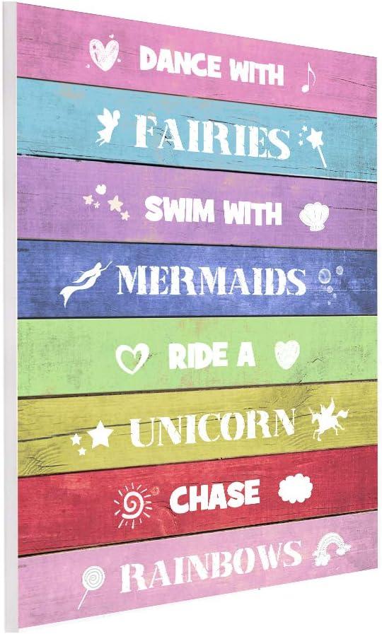 UCUDI Unicorn Room Decor Rainbow Wall Hanging Sign for Teen Girls Kids Bedroom Nursery College Dorm Daughter Gift for Unicorn, Mermaid, Fairy, Rainbow Lovers 10 x 14 Inch
