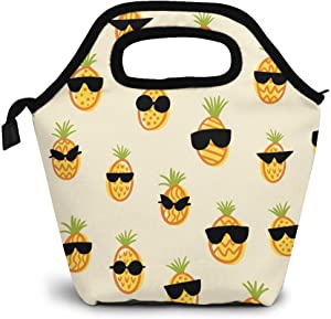 Reusable Lunch Bag,Cute Pineapple Lunch Bag Picnic Office Outdoor Thermal Carrying Gourmet Lunchbox Hand Drawn Doodle Pattern Lunch Tote Container Tote Cooler Warm Pouch For Men,Women