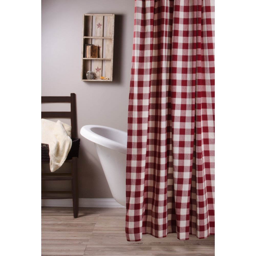 Home Collections by Raghu 10 inch Lamp Buffalo Check Barn Red-Buttermilk Shade