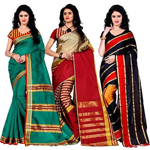 Trendz Combo Pack of Two Saree(Combo_Maliya_Rama_Arun_Red_Patta_Red)