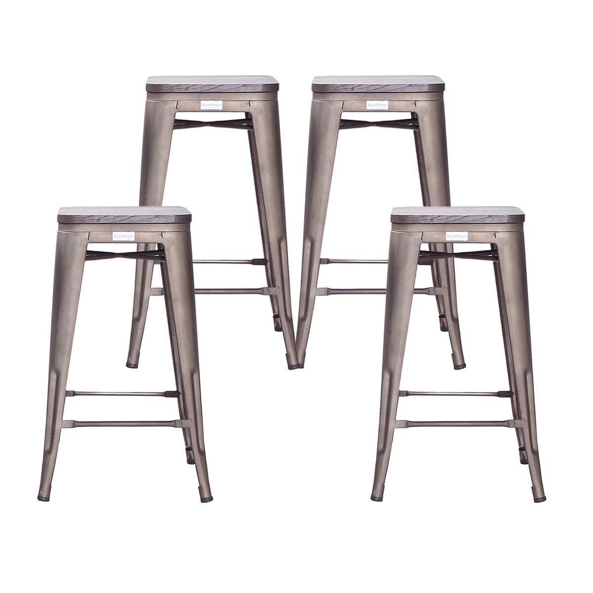 Buschman Set of 4 Bronze Wooden Seat 26 Inch Counter Height Metal Bar Stools, Indoor/Outdoor, Stackable by Buschman Store