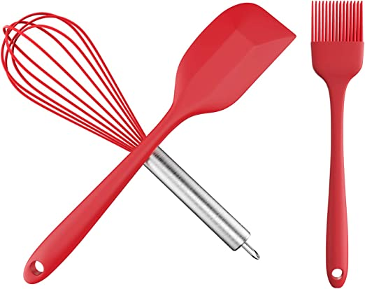 Silicone Kitchen 3-Piece Utensil Set ~ Wire Whisk Spatula and Basting Brush