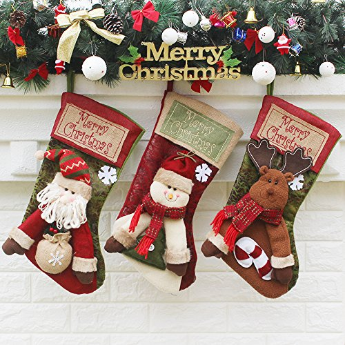 Christmas Stockings 3Pcs Set 18 Inch Santa, Snowman, Reindeer,Xmas Stockings Hanging, 3D Applique Santa Gifts Socks Party Favors Decorative Hanging Ornaments ()