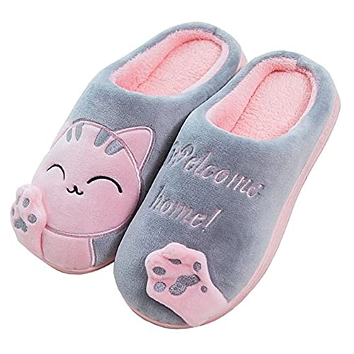 JACKSHIBO Hombres Invierno Calido Plush Zapatillas Cartoon Gato Suave Antideslizante Home Slippers: Amazon.es: Zapatos y complementos