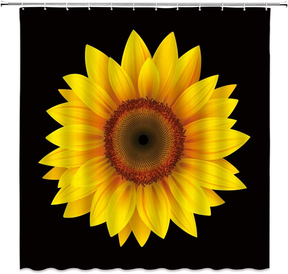 Sunflower Shower Curtain Black Sunflower Spring Blooming Yellow Flower Rustic Floral Nature Plant Bathroom Curtains Decor Polyester Fabric Quick Drying Inches Include Hooks