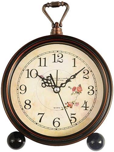 Konigswerk Loud Alarm Clock, Vintage Retro Decorative Quiet Non-Ticking Sweep Second Hand, Quartz Analog Desk Table Clock Battery Operated Roses