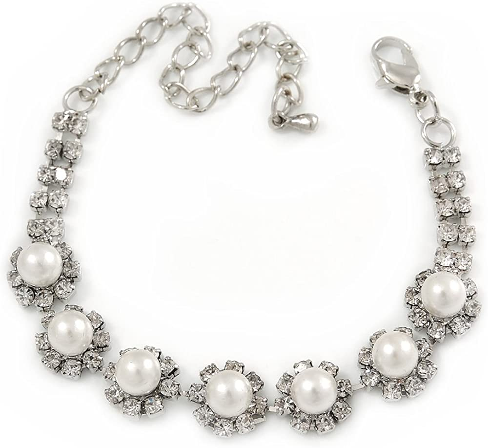 Avalaya - Pulsera de perlas de imitación de cristal y perlas de imitación, color plateado, 14 cm de largo, 8 cm de extensión (para muñecas más pequeñas)