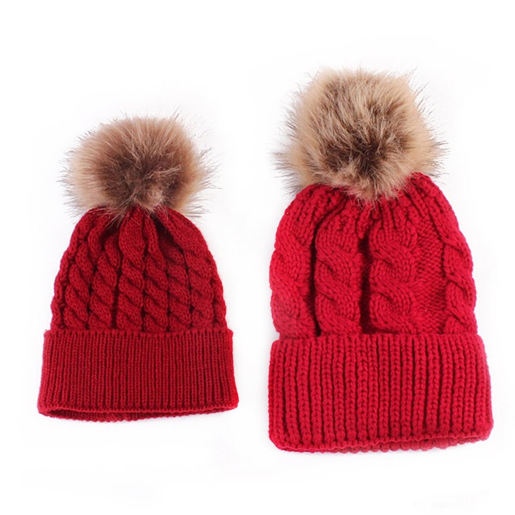MIOIM 2 Pcs Mother & Child Womens Babys Winter Warm Knitted Beanies Fur Pompom Hat SKA00007BK0