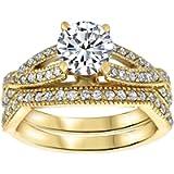 Cast & Crafts 14K Yellow Gold Finish Halo Bridal Wedding Ring Set 1.75Ct Round Cut Diamond