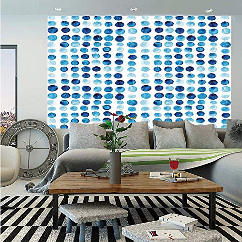 Hand Painted Field Tile - SoSung Blue Huge Photo Wall Mural,Retro Hand Drawn Circles Rounds Color Cells Painted Bubble Like Grungy Style Tile,Self-Adhesive Large Wallpaper for Home Decor 108x152 inches,Blue Light Blue
