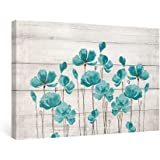 SUMGAR Framed Wall Art Bedroom Teal Wall Decor Farmhouse Flower Canvas Paintings Floral Pictures,16x24 in