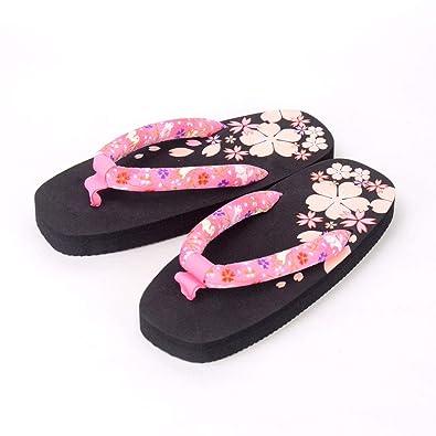 636dce24e6a0 Japanese Geta Zori Flip Flops Cherry Blossom Design Sandal with Traditional  Hanao (Cloth Thong