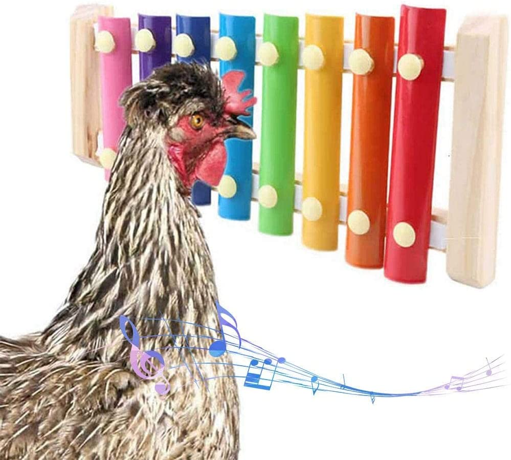 Chicken Xylophone Toy Hanging Wooden Chicken Pecking Toy with 8 Metal Keys and Grinding Stone Wooden Musical Toy for Hens Chicken Coop
