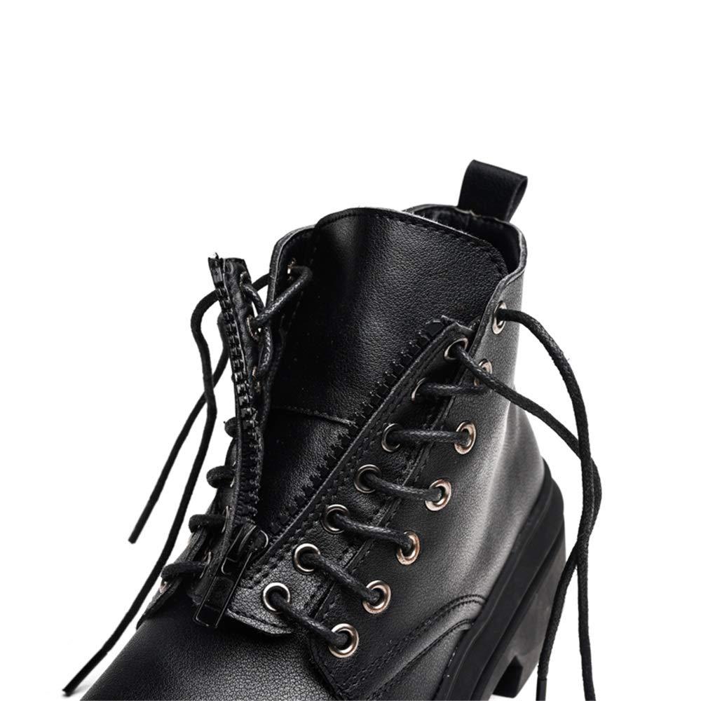 YAJIE-boots, Botas Martin de para Hombre, Botas Altas con Cordones de Martin Estilo Vintage de Moda (con Cremallera de Regalo, un Zapato y Dos experiencias) (Color : Negro, tamaño : 42 EU) 94770b