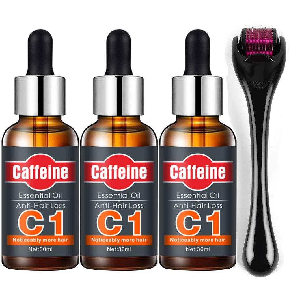 ROUSHUN Caffeine Germinal Oil, Hair Growth Oil Serum Liquid Hair Growth Tools Anti Hair Loss for Women & Men Dense Thicken Hair (4 In 1)
