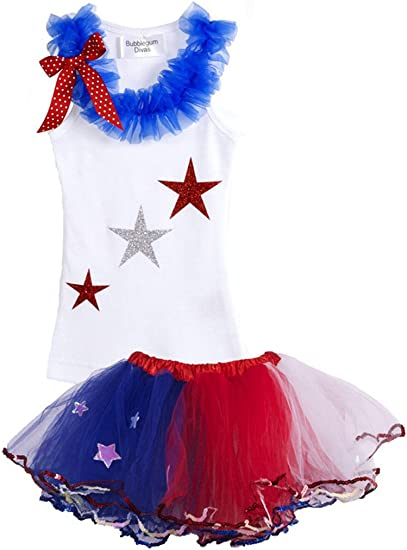 Bubblegum Divas Baby Girls 4th of July American Princess Tank Top and Tutu Set